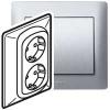 Двойная розетка - Galea Life - 2х2К+3 - винтовые клеммы - в сборе - aluminium